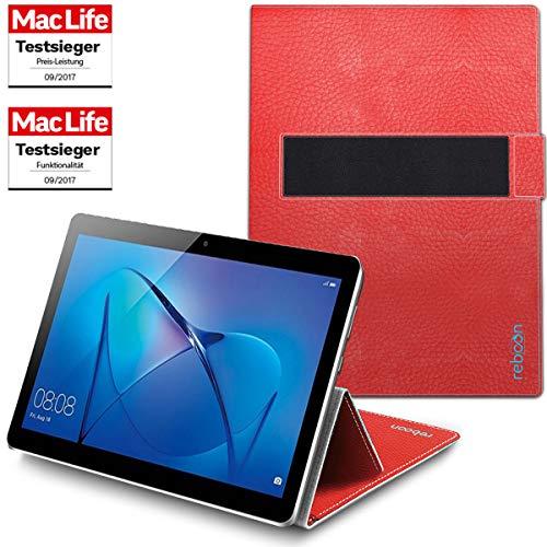 Hülle für Huawei MediaPad T3 10 Tasche Cover Hülle Bumper | in Rot Leder | Testsieger