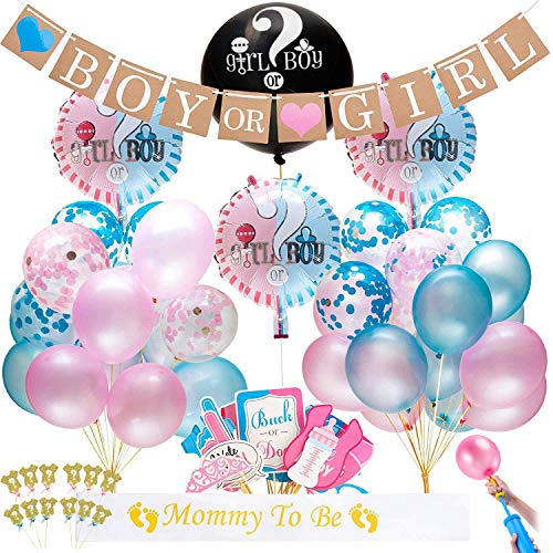 Gender Reveal Party Supplies Kit 155 Piece Include Boy or Girl Banner, Ballons, Photo Props, Sash,Confetti, Cupcake Toppers and so on