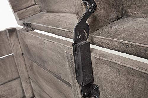 Invicta Interior Massive Truhe Factory LOFT 81cm Mangoholz grau mit Ziernieten Couchtisch Truhenbank Holztruhe mit Stauraum - 9