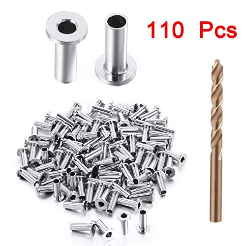 """110 Pcs Stainless Steel Protector Sleeves for 1/8"""", 5/32"""" & 3/16"""" Deck Cable Railing, Wood Post Protector with Drill Bit, DIY Balustrade"""