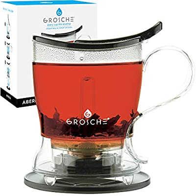 GROSCHE Aberdeen PERFECT TEA MAKER Tea pot with coaster, Tea Steeper, Easy Tea Infuser, 17.7 oz. 525 ml, EASY CLEAN Tea Steeper, BPA-Free - BLACK teapot