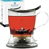 GROSCHE Aberdeen PERFECT TEA MAKER Tea pot with coaster, Tea Steeper, Easy Tea Infuser, 17.7 oz. 525 ml, EASY CLEAN Tea Steeper, BPA-Free - BLACK teapot