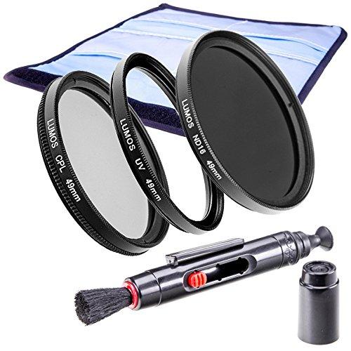 LUMOS Premium Filterset Slim 49mm - ND Filter - zirkularer Polfilter - Hochwertiger UV Schutzfilter - Zubehör Set für Kamera Objektiv 49 mm - UV-Filter - Lebendige Farben - ND16