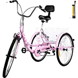 Bkisy Tricycle Adult 26'' 7-Speed 3 Wheel Bikes for Adults Three Wheel Bike for Adults Adult Trike Adult Folding Tricycle Foldable Adult Tricycle 3 Wheel Bike Trike for Adults (Pink)