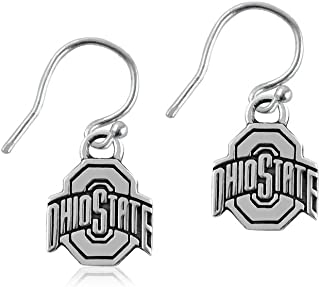 Ohio State University Silver Dangle Earrings, Buckeyes O State Logo - Sterling Silver Jewelry by Dayna Designs, Officially Licensed NCAA Gift. Rhodium Plated, 10mm Small for Women/Girls