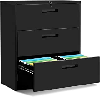 Black Lateral File Cabinet with Lock