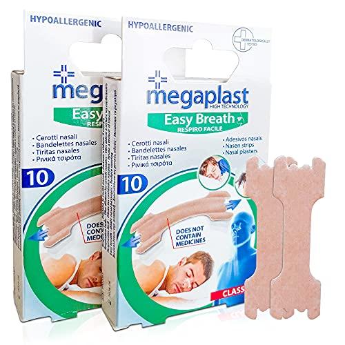 Tiras Nasales Antironquidos Nariz- 20 Tiritas Megaplast Breathe Right - Remedios para no roncar - Respirador Contra Ronquidos y Mejora Calidad del Sueño - Nasal Strips Deportivas