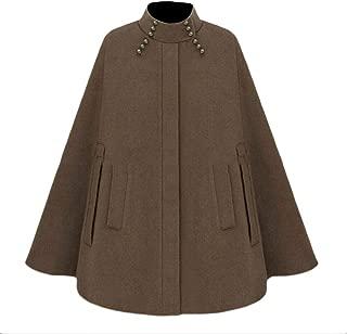 Unastar Women Poncho Jacket Stand Up Collar Stylish Warm Batwing Top Coat