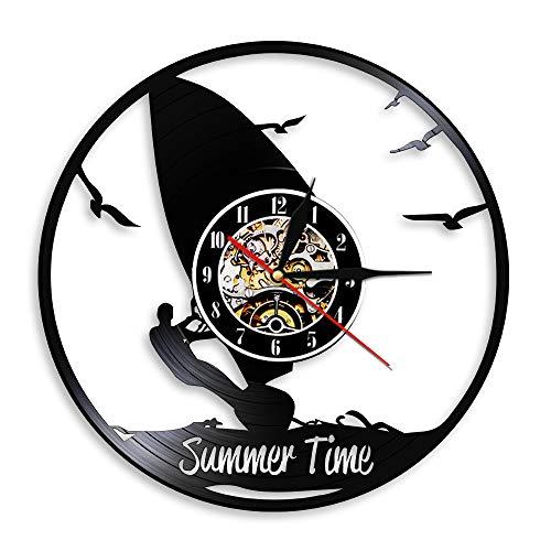 hxjie Reloj de Pared de Vinilo con decoración de Gimnasio de Verano, Regalo para Amantes de los Deportes acuáticos Extremos, Windsurf Sin LED