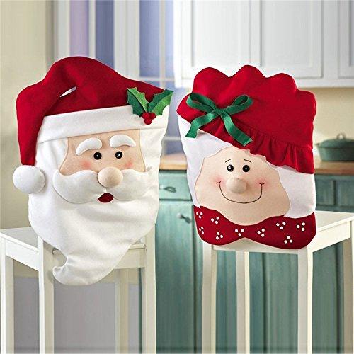 2 Stück Weihnachten Stuhlhussen Rot Hut Stuhl Weihnachtsmützen Stuhlüberzug Schneemann Weihnachten Tisch Partei Dekor für Partys und Weihnachtsessen, 70cm x 45cm(Mr Santa), 61cm x 45cm(Mrs Santa)
