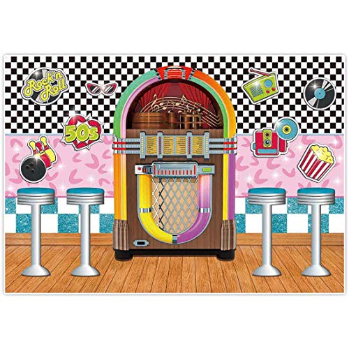 Allenjoy 7x5ft 50s Soda Shop Theme Backdrop Back to 1950s Party Supplies Retro Diner Time Rock Roll Classic Sock Hop Decorations Crazy Vintage Dance Prom Background Portrait Photography Props Favors