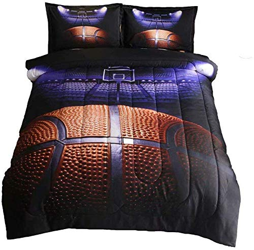 Holawakaka Basketball Court Comforter Set for Boys Men Teen-Boys Sports Fans Quilt Bedding Set Full Size (Basketball-2)