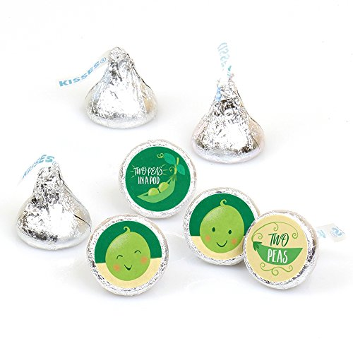 Big Dot of Happiness Double the Fun - Twins Two Peas in a Pod - Baby Shower or First Birthday Party Round Candy Sticker Favors - Labels Fit Hershey