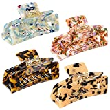4 PCS Big Hair Claw Clips, 4 inch Large Tortoise Shell Hair Clips, Non-slip Acetate Barrettes, Hold Strong Jaw Clips, Marble Leopard Pattern Claw Hair Clips for Women Thin Thick Hair