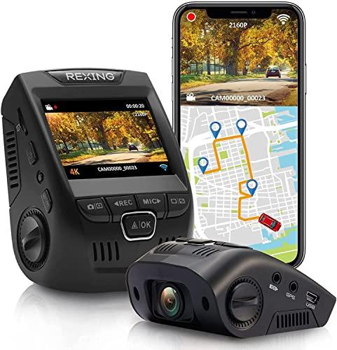 Rexing V1GW-4K Ultra HD - Cámara para salpicadero de coche con registrador GPS integrado, pantalla LCD de 2.4 pulgadas, Wi-Fi, grabadora de cámara de salpicadero de gran angular de 170° con sensor G, WDR, grabación en bucle, supercondensador, aplicación móvil, hasta 256 GB