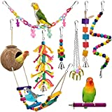 KATUMO Bird Toys, Natural Coconut Bird House with Colorful Ladder Hanging Chewing Toys Hammock Climbing Ladder Bird Colorful Toys with Bells for Parakeet, Conure, Cockatiel, Mynah, Love Birds, Finch
