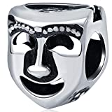 Comedy Tragedy Theater Drama Mask Charm, 925 Sterling Silver Double Sided Bead Face Beads for Pandora Bracelet Gift for Friends