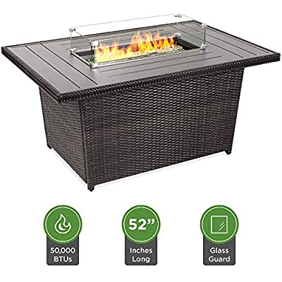 Best Choice Products 52in Outdoor Wicker Propane Fire Pit Table 50,000 BTU w/Glass Wind Guard, Tank Holder, Cover -Gray