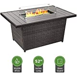Best Choice Products 52-inch 50,000 BTU Outdoor Wicker Patio Propane Gas Fire Pit Table w/Aluminum Tabletop, Glass Wind Guard, Clear Glass Rocks, Cover, Slide Out Tank Holder, and Lid, Gray