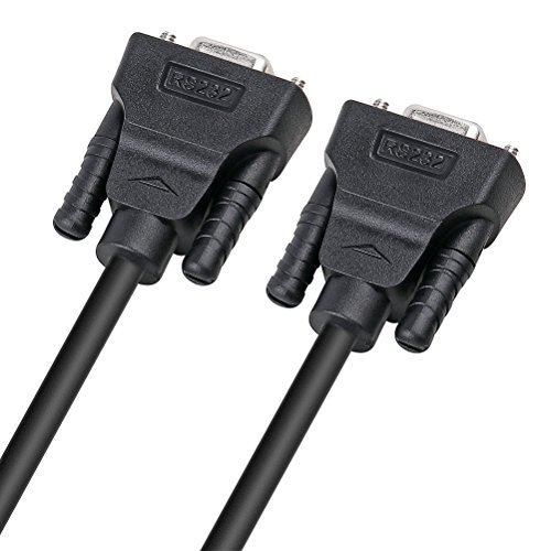 DTECH 10 ft DB9 Serial Cable Female to Female 9 Pin Straight Through (Black, 3 Meters)