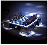 Official ~ Special Collectors Edition ~ Batman Pewter Chess Set ~ LED Gotham Cityscape & Bat Signal Projection ~ Amazing