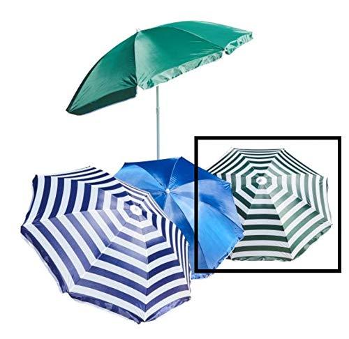 Meinposten. Sonnenschirm Ø 160 cm Strandschirm Gartenschirm Schirm Strand 160cm blau grün (Grün-Weiß, gestreift)