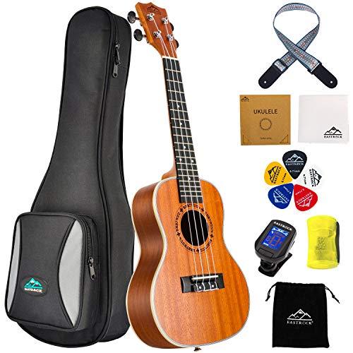 EastRock Sopran Ukulele Anfänger 23 Zoll Massivholz Ukulele Kleine hawaiianische Gitarren Ukulelen für...