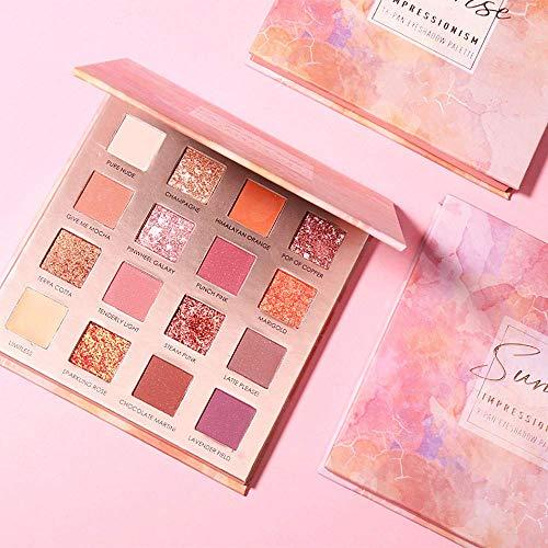 16 Farben Hohe Qualität Lidschatten Palette Pfirsich-Make-up Perlglanz-Lidschatten für Anfänger...