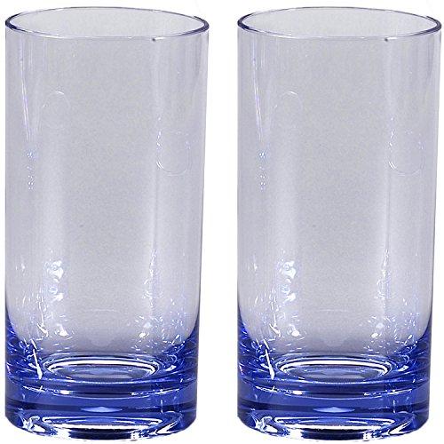 2x Trinkglas Wasserglas Cola Weinglas Rotwein 500ml Gläser 2 Personen Camping Küche Trinkkelch glasklar elegant Outdoor Partyglas Bruchfest Kunststoff Glas Blau Trinkbecher Kinderglas Saftglas Plastik