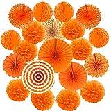Zerodeco ZEORDECO Abanicos de Papel Bola de Nido Pom Poms Ventilador de Papel para Colgar Decoración para Cumpleaños Boda Carnaval Bebé Ducha Home Party Supplies Decoración - Naranja