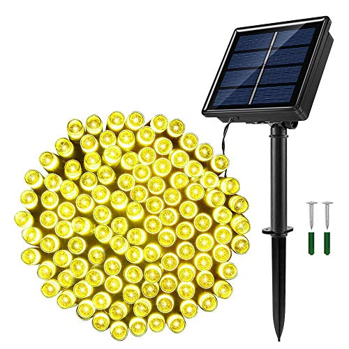 JosMega Upgraded Larger Solar Powered String Lights LED 8 Modes Outdoor String Lights Waterproof Fairy Lights for Garden, Patio, Fence, Balcony, Outdoors (1 Pack 72 ft 200 LED, Warm White)