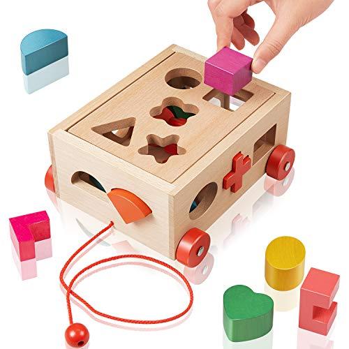 EXTSUD Steckwürfel aus Holz, Würfel Puzzle Kinder Motorikspielzeug Steckbox für Baby Kleinkind Montessori Lernspielzeug Geschenk zum Geburtstag Kindertag Weihnachten für Kinder ab 3 Jahre