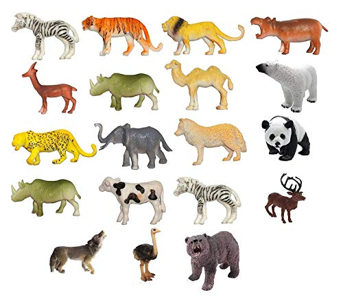 SUPER TOY Kids Mini Domestic Wild Animal Toys Play Set (Pack of 19)