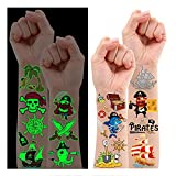 34 Styles Pirate Birthday Party Supplies, Glow + Metallic Glitter Pirate Temporary Tattoos for Kids Party Favors Decorations, Pirate Tattoo Stickers Accessories Games for Boys and Girls