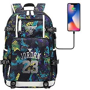 5145oepPPqL. SS300  - GXB Mochila Deportiva para Hombre Multifuncional Rucksack Fashion University Schoolbag NBA Basketball Player Star Michael Jordan No. 23 Estilo A