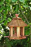 Futterhaus - Vogelhaus *ohne / mit Beleuchtung LED-Leuchte Garten,Vogelhäuschen Garten mit 6 x Futterdosierer und Silo,wetterfest NATURFARBEN,natur,NEU Futterfläche,/ HOLZHAUS-NATUR -Vogel MIT-Futterstation Farbe natur,Futterfläche