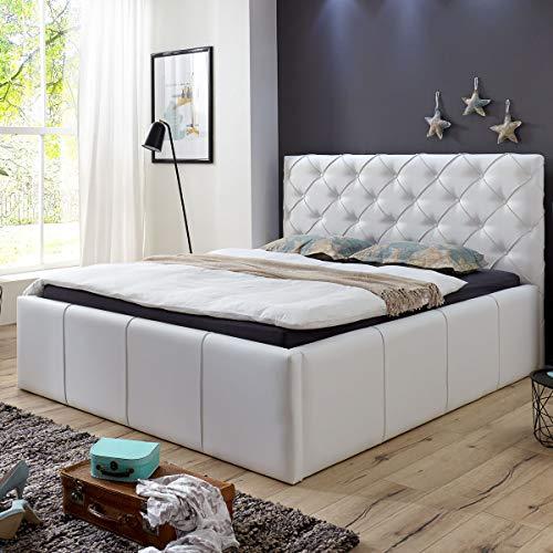 Luxus Polsterbett mit Bettkasten Nelly XXL 180×200 cm Kunslederbett Doppelbett Ehebett Weiß - 3