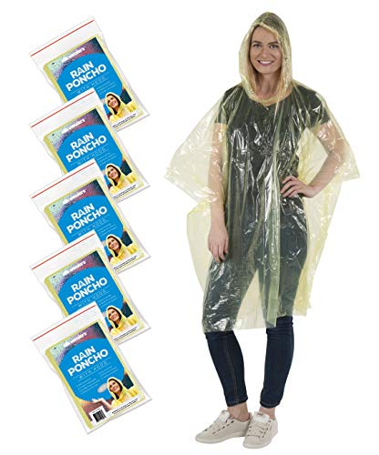 Wealers Disposable Rain Ponchos for Adults – 5 Pack Thick...