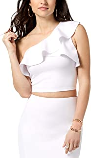 Womens Molly One Shoulder Ruffled Crop Top