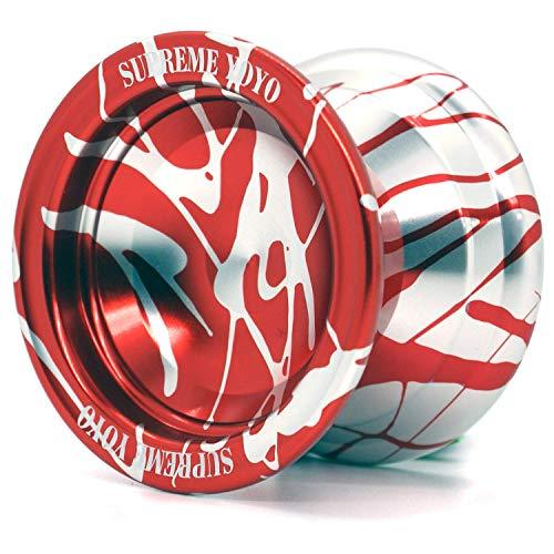 Supreme Yoyo Responsive Aluminum Yoyo Professional Yoyo with Extra Strings (Red & Silver)