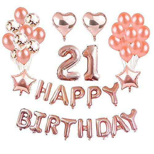 Weimi 21st Birthday Decorations Rose Gold For Girls Inflating Foil HAPPY BIRTHDAY Banner Star Heart