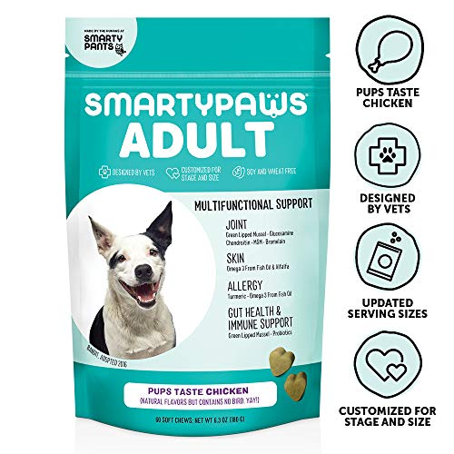 SmartyPaws Dog Supplement Chews for Adults, Chicken Flavor, 60 ct