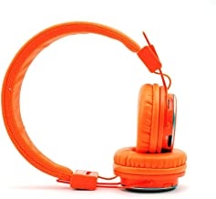 NIA Q8 Wireless Bluetooth Headphones with Built-in FM Radio and TF Card Mp3 Player-Orange