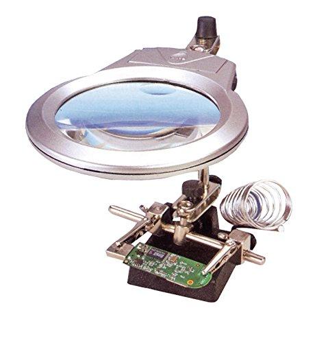 Lupa articulada con LED para trabajos modelismo, con soporte para soldador desmontable