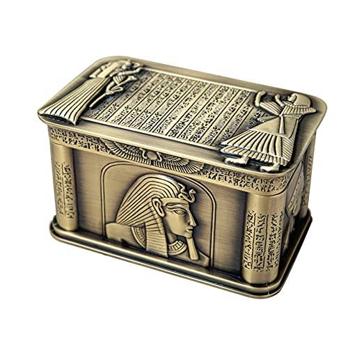 JJWC Vintage Egipto Faraón Metal Relieve Joyería Joyería Regalo Egipcio Estuche de Almacenamiento de Regalos Home Art Craft Decoration Organizer Cofre
