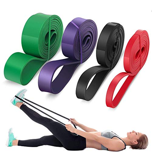 LEEKEY Resistance Band Set, Pull Up Assist Bands - Stretch Resistance Band - Mobility Band Powerlifting Bands For Resistance Training, Physical Therapy, Home Workouts (Set-4)