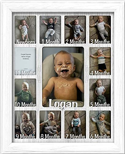 """Northland Baby First Year Personalized Frame - Holds Twelve 2.5"""" x 3.5"""" Newborn Nursery Decor Photos and 5"""" x 7"""" One Year Picture, White Frame, White Mat, Customizable with Any Name"""