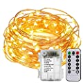 Flexble Fairy Lights Indoor String Lights Battery Powered 100 LEDs 10m Copper Wire Christmas Tree Lights Outdoor Waterproof Garden Rope Lights for Bedroom,Wedding,Party,Xmas Tree(Warm White)