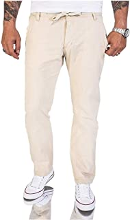 neveraway Men Classic Linen&Cotton Drawstring Sport Lounge Trousers