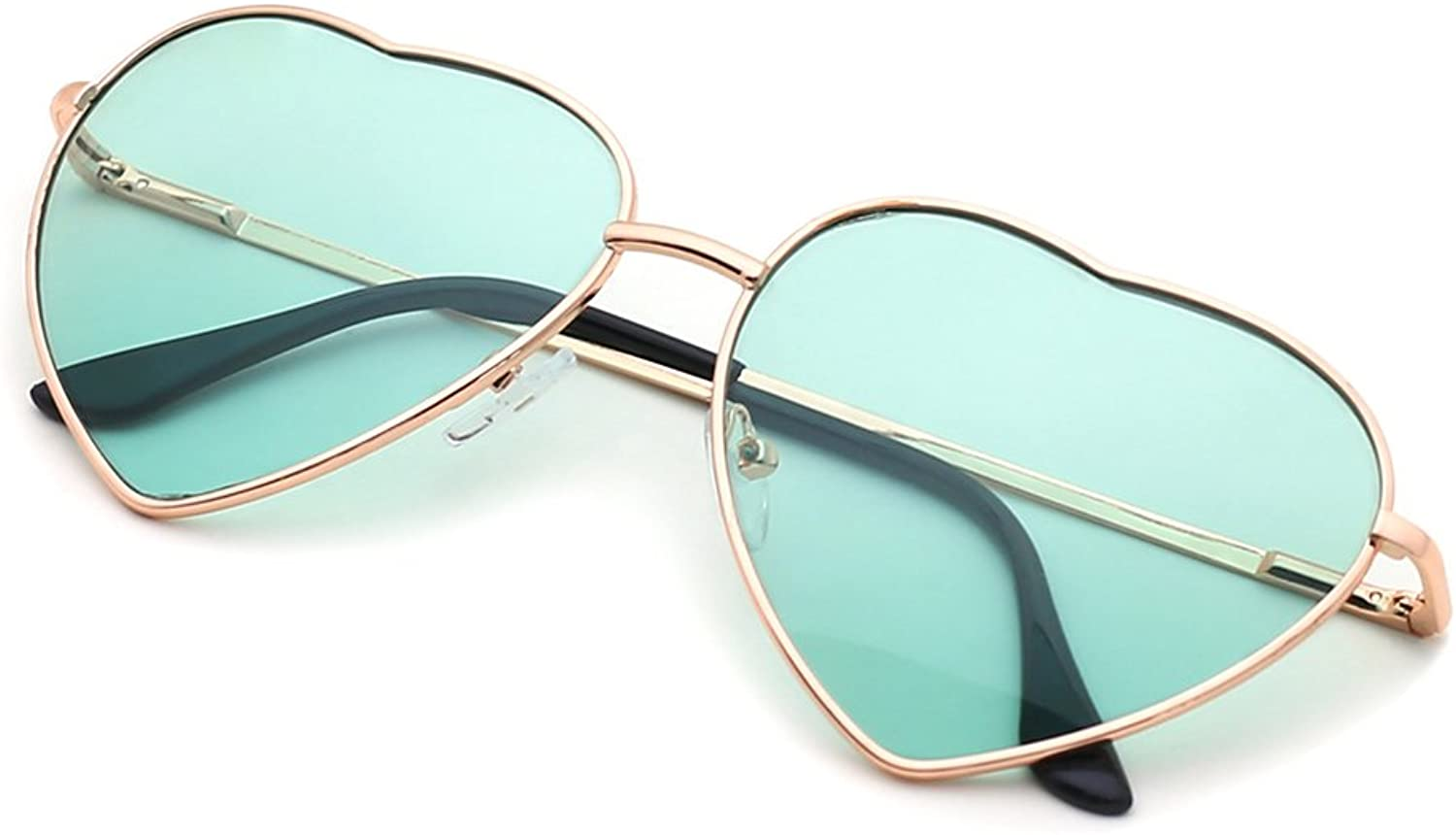Slocyclub Stylish Metal Heartshaped Frame Sunglasses UV400 Predection for Women